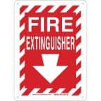 14 in. x 10 in. Plastic Fire Extinguisher with Arrow Safety Sign