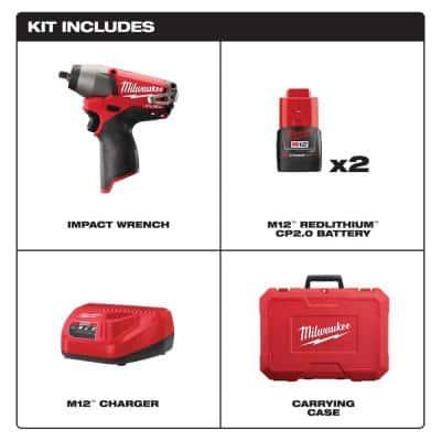 M12 FUEL 12-Volt Lithium-Ion Brushless Cordless 3/8 in. Impact Wrench Kit w/Two 2.0 Ah Batteries, Charger and Tool Bag