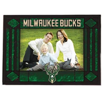 NBA -4 in. X 6 in. Gloss Multi Color Art Glass Picture Frame Bucks