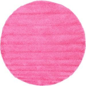 Solid Shag Taffy Pink 8 ft. Round Area Rug