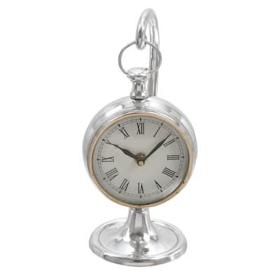 Silver Aluminum Coastal Analog Tabletop Clock