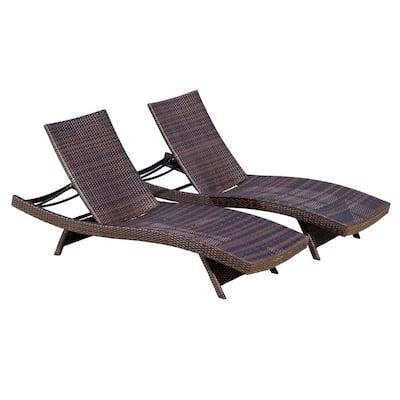 Salem Multi-Brown 2-Piece Wicker Outdoor Chaise Lounge