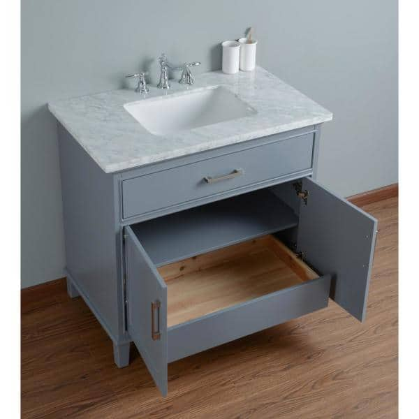 Stufurhome 36 In Leigh Single Sink Bathroom Vanity In Grey With Carrara Marble Vanity Top In White With White Basin Hd 1475g 36 Cr The Home Depot