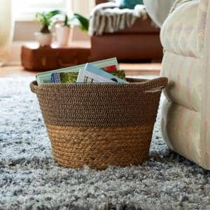Tweed in Natural Wicker Basket with Side Handles