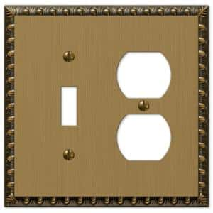 Antiquity 2 Gang 1-Toggle and 1-Duplex Metal Wall Plate - Brushed Brass