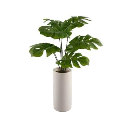 24 in. Faux Palm in 10.5 in. Textured Ceramic Vase