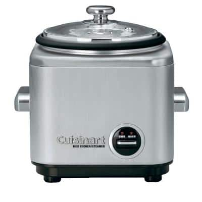 4-Cup Stainless Steel Rice Cooker with Non-Stick Interior