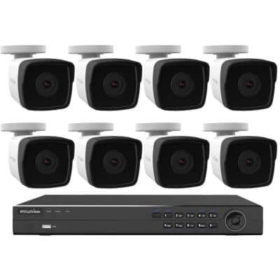 8-Channel 4MP Full HD 1440p 4TB Hard Drive NVR Surveillance System with Bullet Cameras Night Vision and Remote Viewing