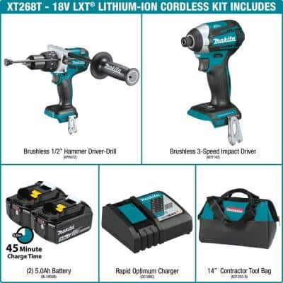 18-Volt LXT Lithium-ion Brushless Cordless 2-piece Combo Kit (Hammer Drill/ Impact Driver) 5.0Ah