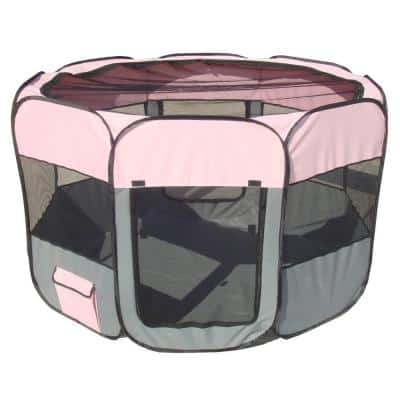 All-Terrain Lightweight Easy Folding Wire-Framed Collapsible Travel Dog Playpen in Pink/Grey - LG