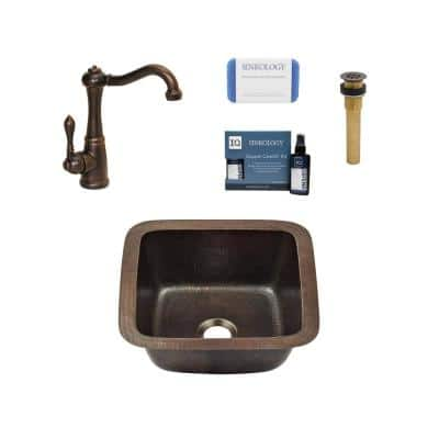 Pollock 18 Gauge Copper 12 in. Undermount Bar Sink with Pfister Faucet and Drain