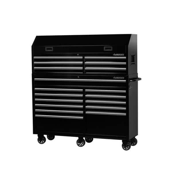 Husky 61 In W 18 Drawer Combination Tool Chest And Rolling Cabinet Set In Gloss Black H61ch6tr12 The Home Depot
