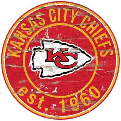 "24"" NFL Kansas City Chiefs Round Distressed Sign"