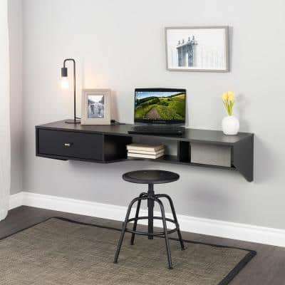 58.25 in. Modern Black Floating Desk with Drawer