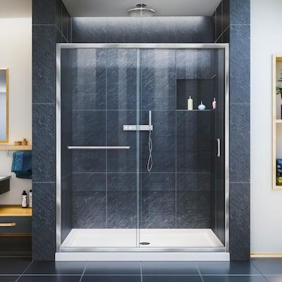 Infinity-Z 50-54 in. W x 72 in. H Semi-Frameless Sliding Shower Door in Chrome