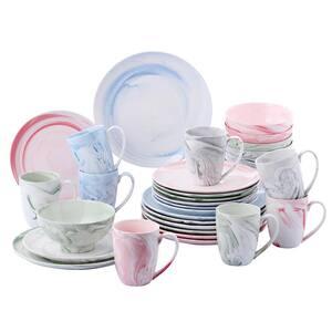16-Piece Assorted Colors Porcelain Plates, Bowls Set and Mugs Dinnerware Set (Service for 4)