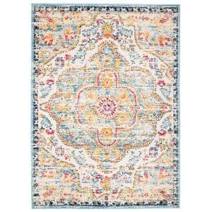 World Rug Gallery Distressed Vintage Bohemian 7 Ft 10 In X 10 Ft Blue Area Rug Mon836blue8x10 The Home Depot
