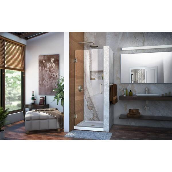 Dreamline Unidoor 30 In X 72 In Frameless Hinged Shower Door In Brushed Nickel Shdr 20307210f 04 The Home Depot