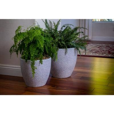 Xbrand 14 in. Tall and 12 in. Tall Grey Modern Nested Round Flower Concrete Pot Planter (Set of 2 Different Sizes)