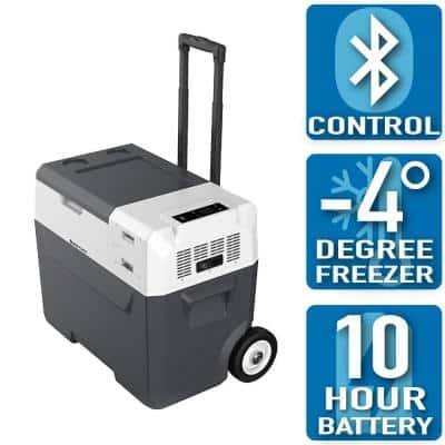LiONCooler 42 Qt. Battery Powered Portable Chest Fridge Freezer Cooler w/10+ Hour Run Time, Recharge Using Solar/DC/AC