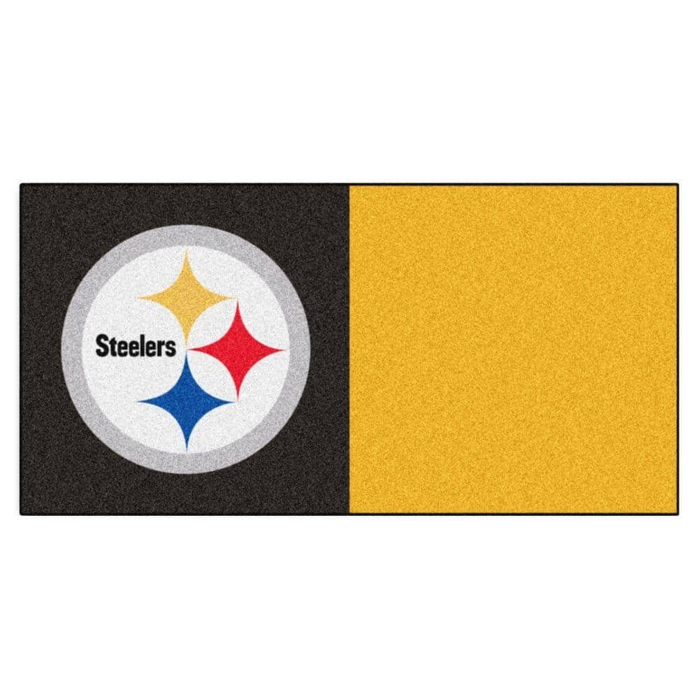 Fanmats Nfl Pittsburgh Steelers Black And Yellow Nylon 18 In X 18 In Carpet Tile 20 Tiles Case 8545 The Home Depot
