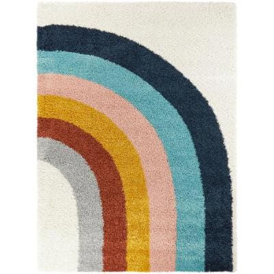 Amelia Rainbow Shag White 5 ft. x 7 ft. Area Rug