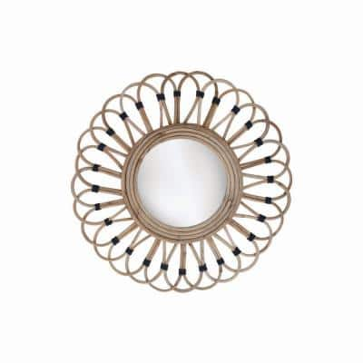 19 in. x 19 in. Round Wrapped Rattan Wall Mirror
