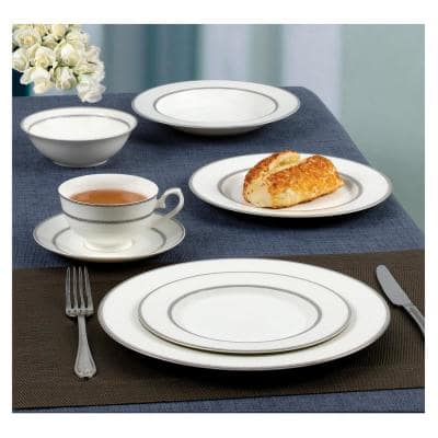 57-Piece Patterned Silver Band Bone China Dinnerware Set (Service for 8)