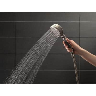 9-Spray 5 in. Single Wall Mount Adjustable Handheld Shower Head in Stainless