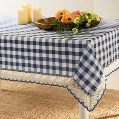 Buffalo Check 60 in. W x 84 in. L Navy Checkered Polyester/Cotton Rectangular Tablecloth