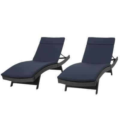Salem Grey 2-Piece Wicker Outdoor Chaise Lounge with Navy Blue Cushions