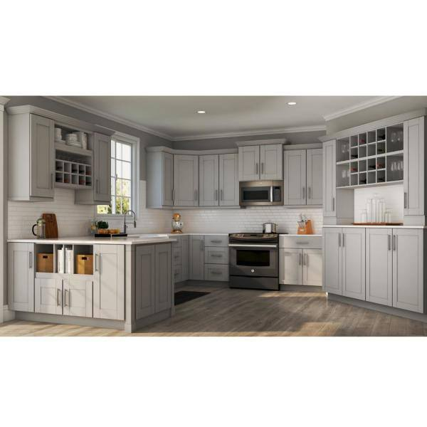 Hampton Bay Shaker Assembled 36x34 5x24 In Farmhouse Apron Front Sink Base Kitchen Cabinet In Dove Gray Ksbd36 Sdv The Home Depot
