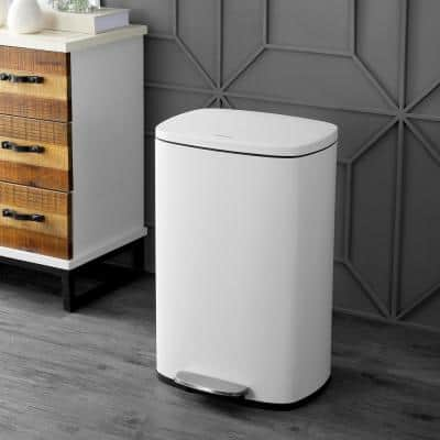 Connor 13 Gal. White Rectangular Trash Can with Soft-Close Lid and Free Mini Trash Can