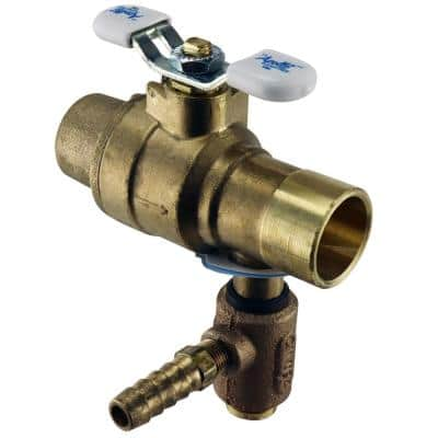 3/4 in. LF Brass Full Port Solder Ball Valve with Integral Thermal Expansion Relief Valve 3/8 in. Hose Barb Outlet