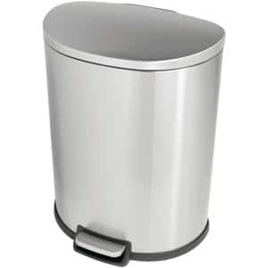 SW 13 gal. Stainless Steel Step-On Trash Can D-Shaped