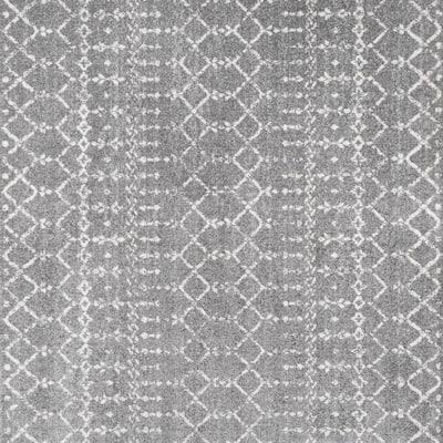 Moroccan Hype Boho Vintage Diamond Gray/Ivory 5 ft. Square Area Rug