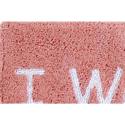 Phrase Collection Peach 21 in. x 34 in Woke Up 100% Cotton Bath Rug