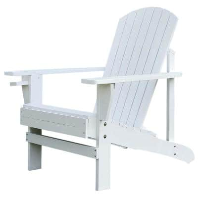 38.25 in. W x 28.5 in. D x 36.5 in. H White Wood Adirondack Armchair