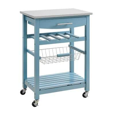 Contemporary Blue Kitchen Island with Stainless Steel Top and Casters