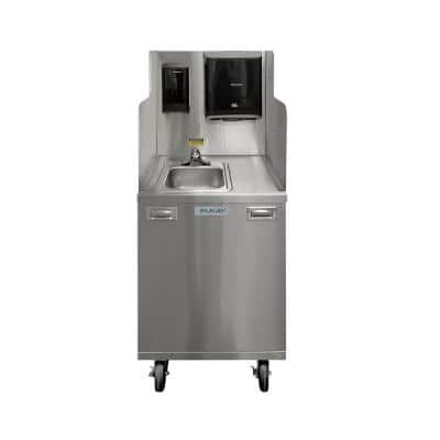 Touchless All-in-One 10in. x12in. x6in. Stainless Steel Portable Utility Sink and Cabinet w/ 2.5 gal. Water Heater