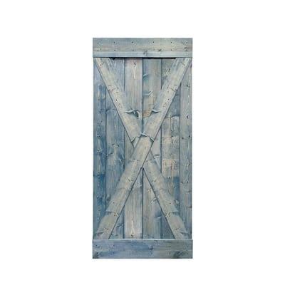X Series 36 in. x 84 in. Solid Denim Blue Stained Pine Wood Interior Sliding Barn Door Slab