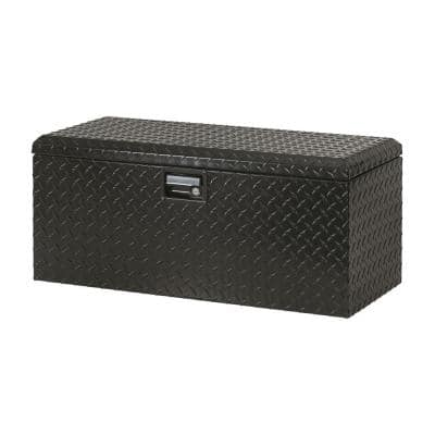 32 in Gloss Black Aluminum Full Size Chest Truck Tool Box with mounting hardware and keys included