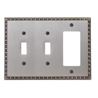 Antiquity 3 Gang 2-Toggle and 1-Rocker Metal Wall Plate - Antique Nickel