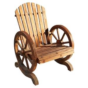 Wagon Wheel Burnt Wood Adirondack Chair