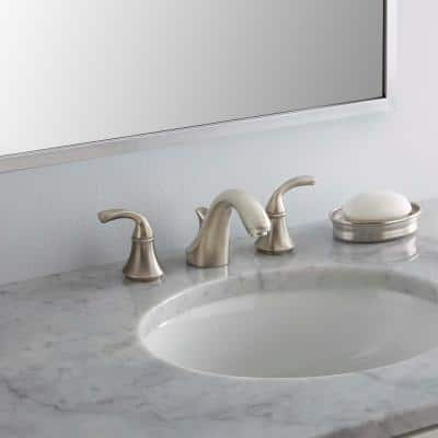 Forte 8 in. Widespread 2-Handle Low-Arc Bathroom Faucet in Vibrant Brushed Nickel with Sculpted Lever Handles