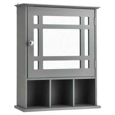20 in. W x 24 in. H x 6 in. D Bathroom Storage Wall Cabinet with 1 Glass Doors and Adjustable Shelf in Gray