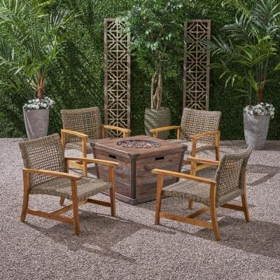 Hampton Natural with Grey 5-Piece Wood and Wicker Patio Fire Pit Seating Set