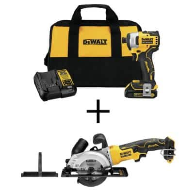 ATOMIC 20-Volt MAX Li-Ion Brushless Cordless Compact 1/4 in. Impact Driver Kit with 20-V 4-1/2 in. Circ Saw (Tool-Only)