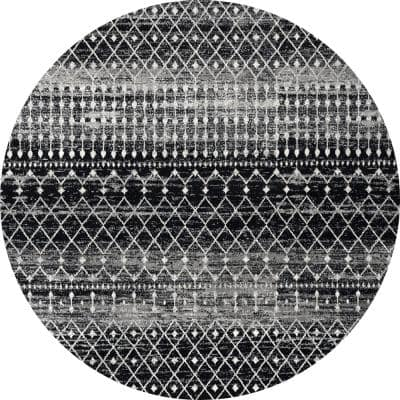 Blythe Modern Moroccan Trellis Black 10 ft. Round Rug
