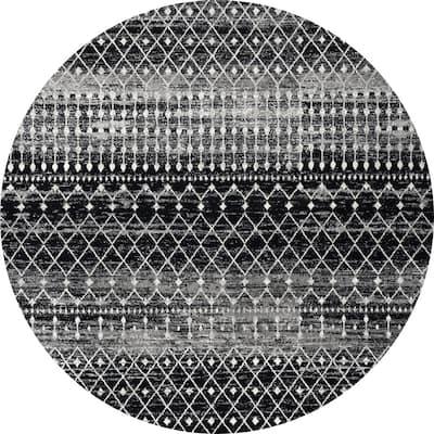 Blythe Modern Moroccan Trellis Black 8 ft. Round Rug